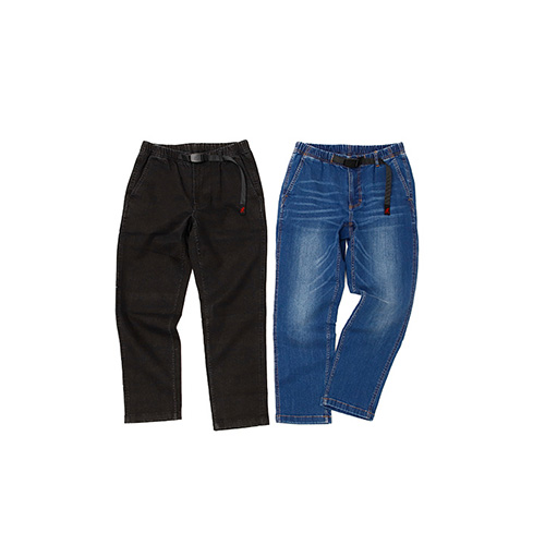 DENIM TAPERED CROPPED PANTS