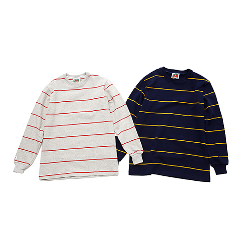 HW CREW NECK L/S TWO COLOUR STRIPES